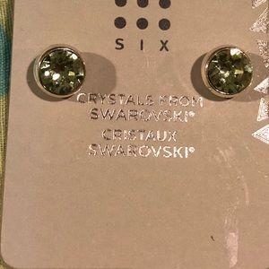 NWT Swarovski Green Crystal Stud Earrings